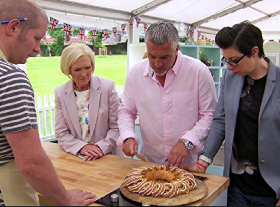 "<p>Contestants must remain tight-lipped about certain aspects of production and the application process. They also can't <a href=""https://gbbo.take-part.co.uk/info/rules"" rel=""nofollow noopener"" target=""_blank"" data-ylk=""slk:provide any photographs or videos"" class=""link rapid-noclick-resp"">provide any photographs or videos</a> of the competition to the media.</p>"