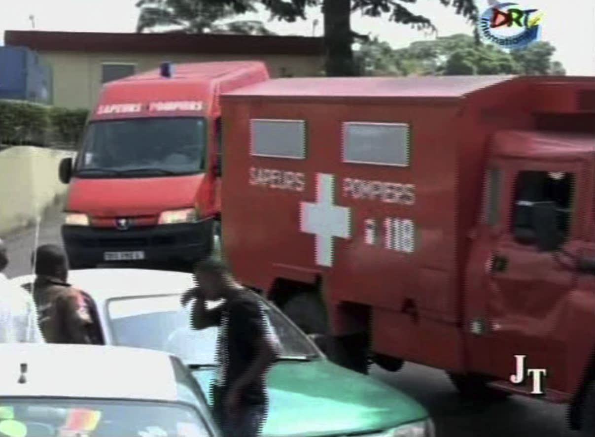 This video image made from DRTV shows emergency vehicles arriving at a hospital after blasts rocked Brazzaville, the capital of the Republic of Congo Sunday March 4, 2012 after a weapons depot caught fire. Officials in the Congo said an unknown numbers of people were killed and wounded and some 2,000 people were forced to flee their homes. The explosions shook houses in Brazzaville and echoed across the Congo River to the capital of the neighboring country. (AP Photo/DRTV) REPUBLIC OF CONGO OUT