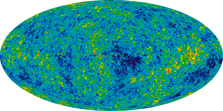 """<span class=""""caption"""">The Cosmic Microwave Background temperature fluctuations from the seven-year WMAP data over the sky.</span> <span class=""""attribution""""><span class=""""source"""">NASA/WMAP</span></span>"""