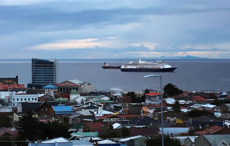 The Zaandam ship cruise is seen in Punta Arenas, in southern Chile, on March 16. Source: Getty