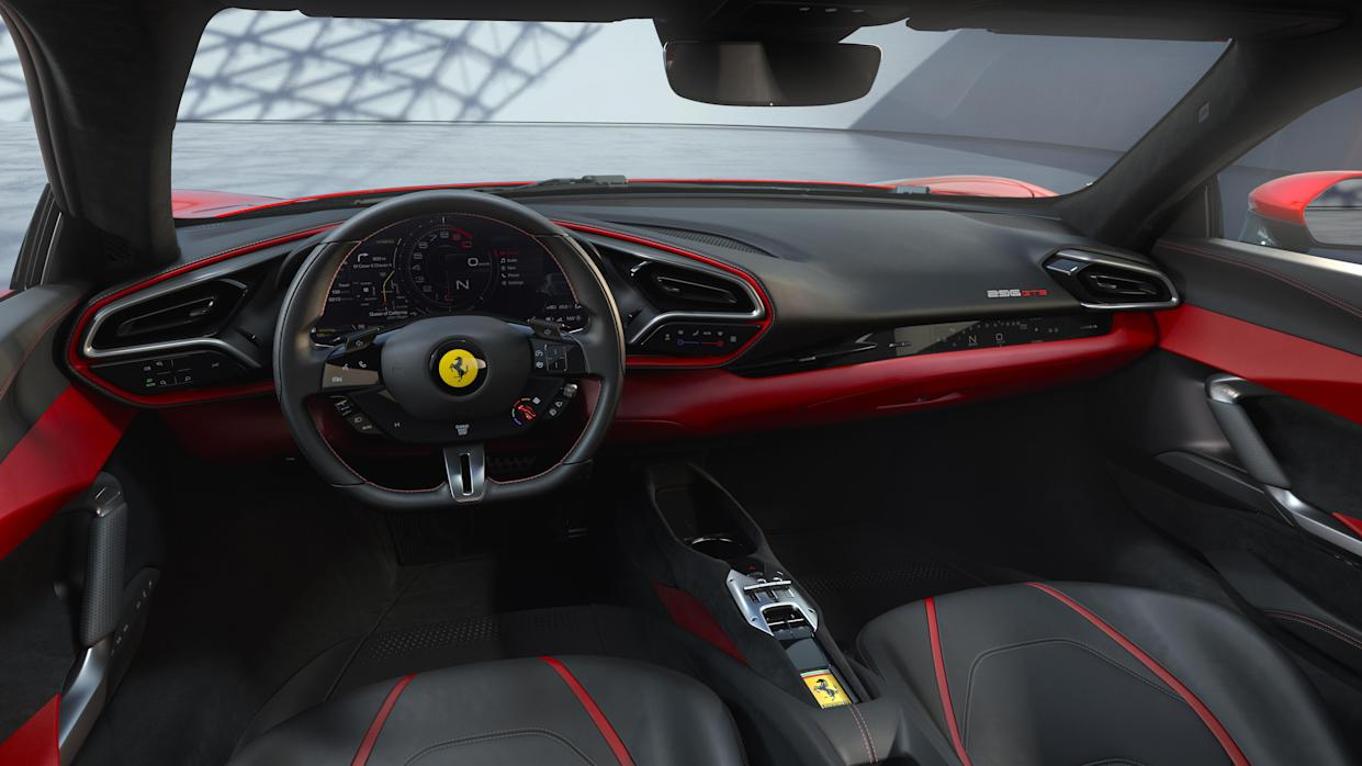 The 296 GT's interior is similar to that of the SF90 Stradale