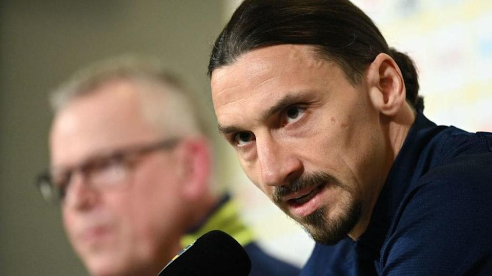 Ibrahimovic in conferenza stampa col ct svedese Andersson | JONATHAN NACKSTRAND/Getty Images