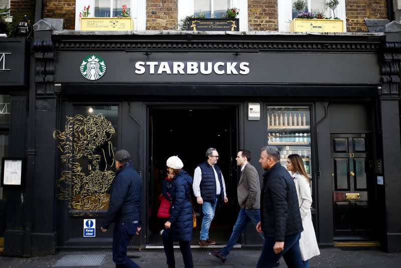 General view of a Starbucks coffee shop in London