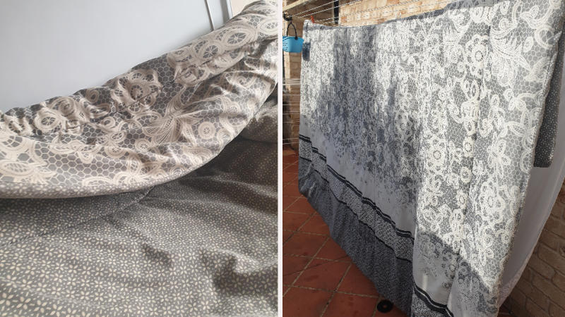 The doona looked fine before (left), but the stunning after shot (right) proves we all need to soak those blankets. Photo: Supplied