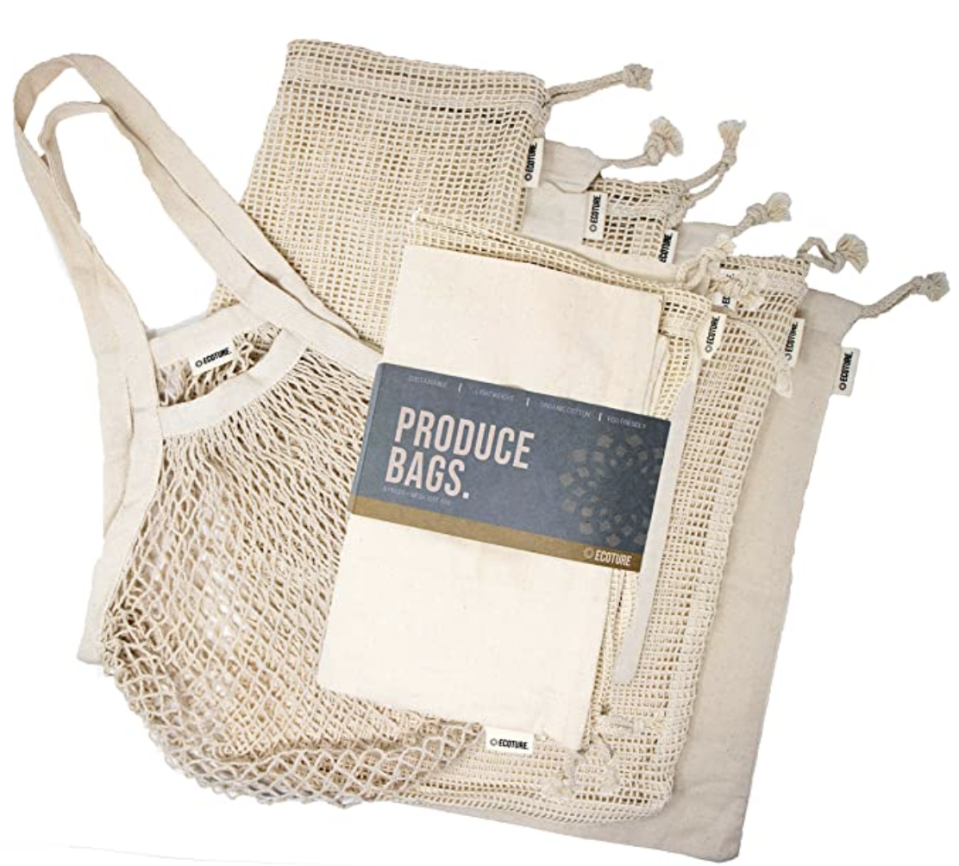 Eco-friendly reusable bags in mesh and muslin for grocery shopping. PHOTO: Amazon