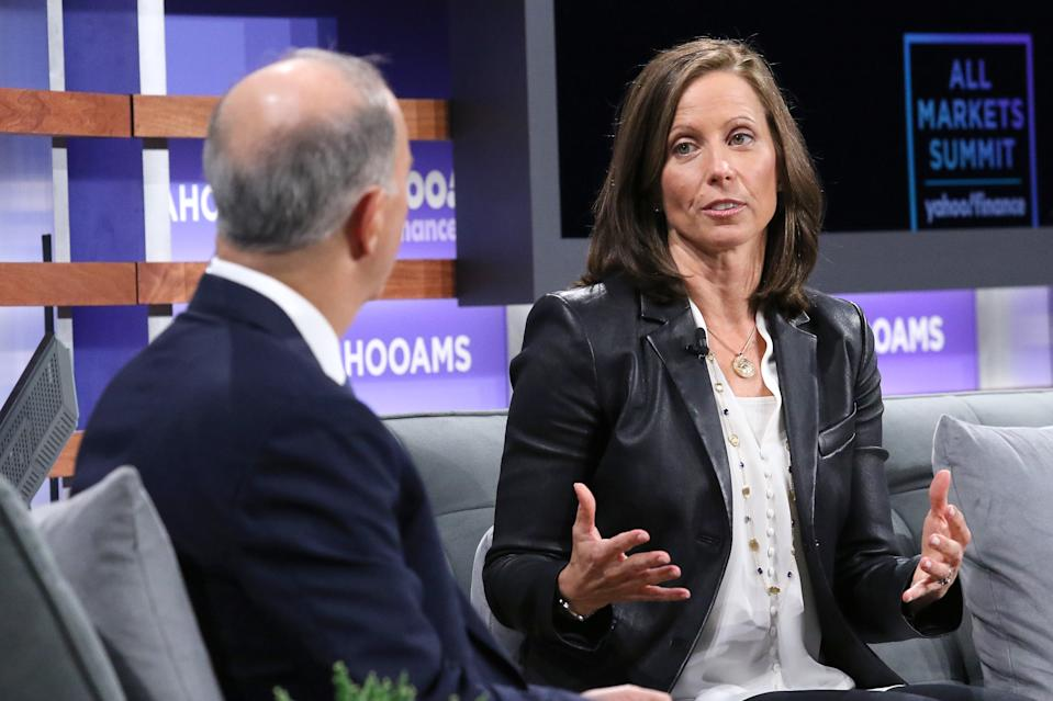 NEW YORK, NEW YORK - OCTOBER 10: Moderator Andrew Serwer and president of NASDAQ Adena Friedman attend the Yahoo Finance All Markets Summit at Union West Events on October 10, 2019 in New York City. (Photo by Jim Spellman/Getty Images)