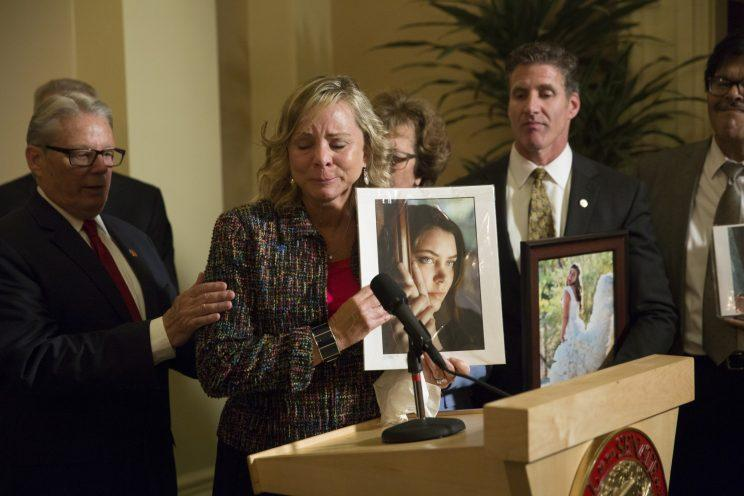 Debbie Ziegler, mother of Brittany Maynard, speaks to the media after the passage of legislation, which would allow terminally ill patients to legally end their lives, at the state Capitol, in Sacramento, Calif on September 11, 2015. (Photo: Carl Costas/AP)