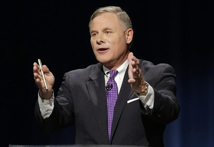 U.S. Sen. Richard Burr, R-N.C. makes a comment during a live televised Senate debate with Democratic challenger Deborah Ross at UNC-TV studios in Research Triangle Park, N.C., Thursday, Oct. 13, 2016. (AP Photo/Gerry Broome, Pool)