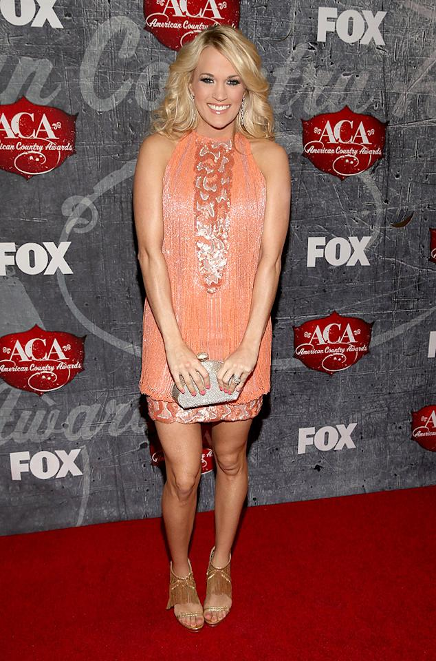 LAS VEGAS, NV - DECEMBER 10:  Singer Carrie Underwood arrives at the 2012 American Country Awards at the Mandalay Bay Events Center on December 10, 2012 in Las Vegas, Nevada.  (Photo by Christopher Polk/ACA2012/Getty Images)