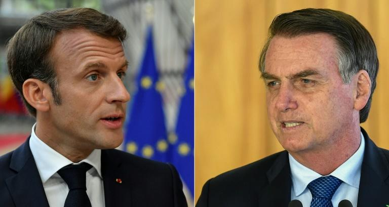 This combination shows France's President Emmanuel Macron (L) speaking in Brussels on June 30, and Brazilian President Jair Bolsonaro (R) speaking to the press in Brasilia on January 16, 2019 (AFP Photo/JOHN THYS         , EVARISTO SA)