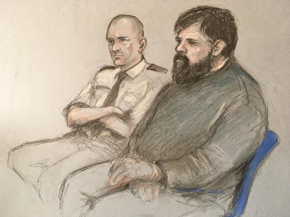 File artist sketch dated 07/05/19 of Carl Beech, known as Nick, at Newcastle Crown Court. Beech, who is accused of making up allegations of a Westminster VIP paedophile ring, craved attention, made money from his claims and intended to become an international speaker on ???survivors???, a court has heard.