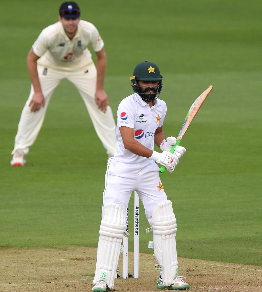 Fawad Alam bats for Pakistan in the second Test against England. (Photo by Stu Forster/Getty Images)