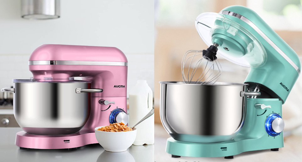 Amazon shoppers approve of the Aucma Stand Mixer. Images via Amazon.