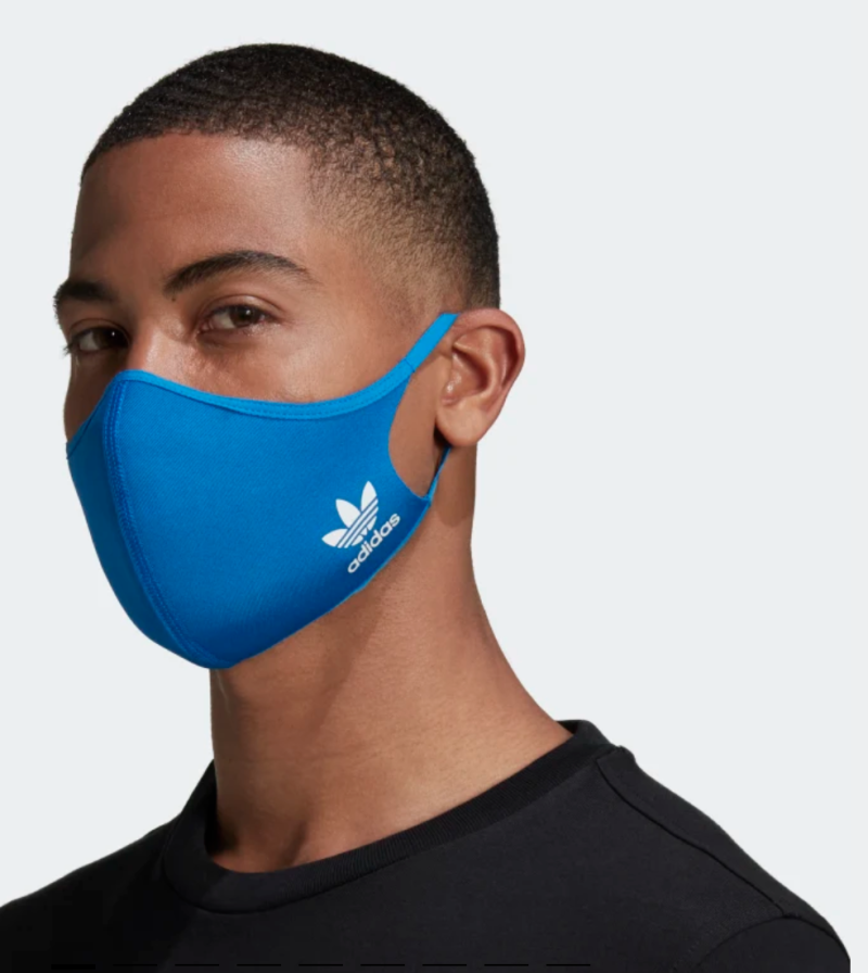 These structured face masks contain up to 40 percent recycled content. (Photo: Adidas)