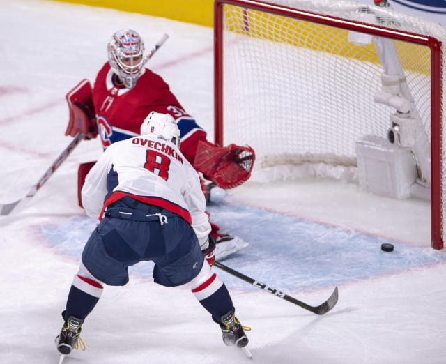 Washington Capitals left wing Alex Ovechkin (8) scores a goal against Montreal Canadiens goaltender Carey Price (31) during first period NHL hockey action Monday, November 19, 2018 in Montreal. (Ryan Remiorz/The Canadian Press via AP)
