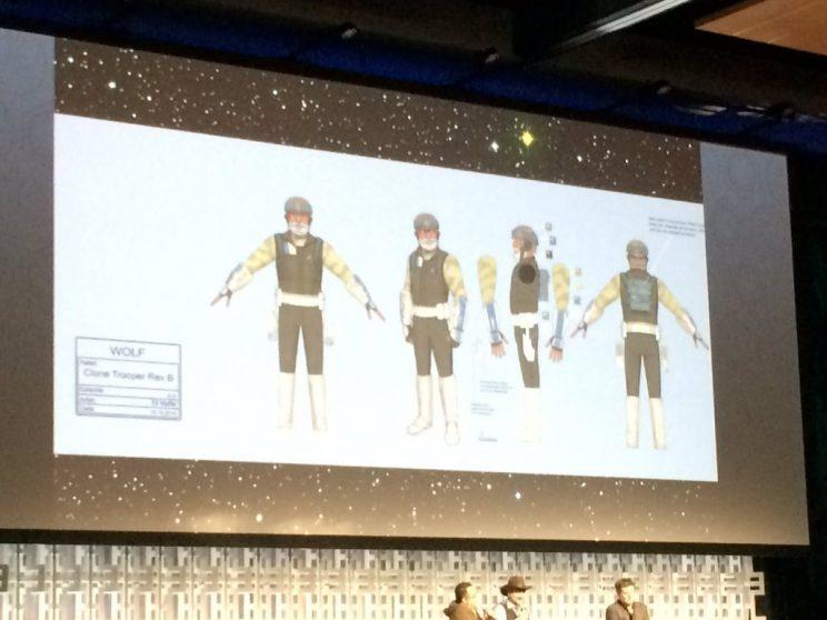 Art of Clone Trooper Rex on the screen at Star Wars Celebration