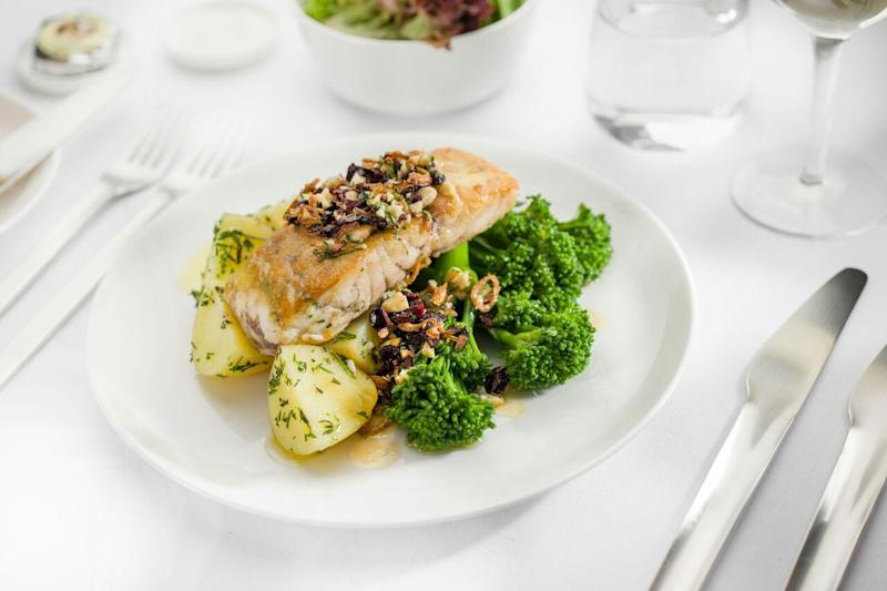 Haute cuisine: the barramundi served to business-class passengers at 40,000 feet (Qantas)