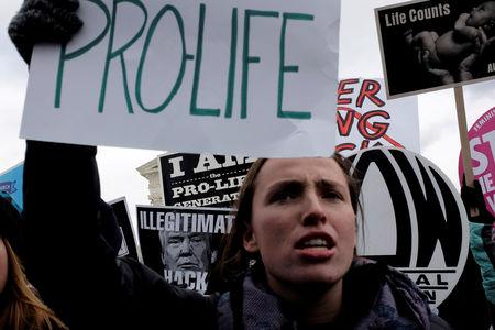 FILE PHOTO: A counter-protester holds an anti-Trump sign behind an anti-abortion demonstrator as the annual March for Life concludes at the U.S. Supreme Court in Washington, DC, U.S. January 27, 2017. REUTERS/James Lawler Duggan/File Photo