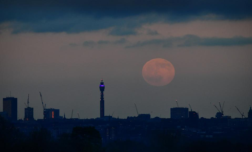 "LONDON, ENGLAND - JANUARY 10: First full moon of the decade: Wolf moon, rises over London - seen from Richmond Park, UK, England on the 10th January 2020. Skywatchers have been treated to the first full moon of 2020 - known as a ""wolf moon"" - at the same time as a lunar eclipse. Those gazing up at the skies on Friday, weather permitting, would have seen a penumbral lunar eclipse, which happens when the moon passes through the Earth's shadow. (Photo by Jeff Overs/BBC News & Current Affairs via Getty Images)"
