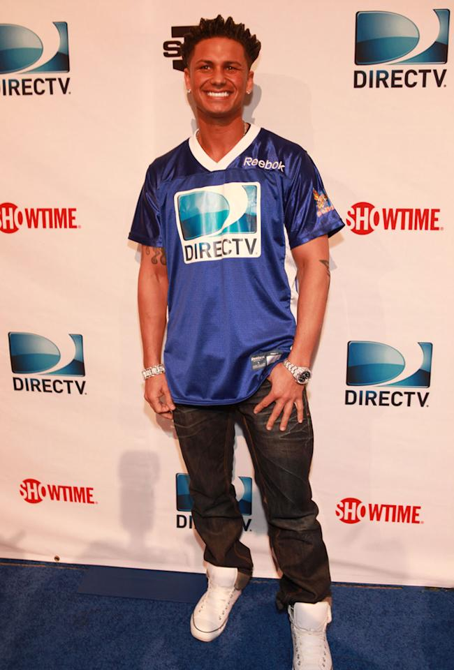Pauly D arrives at the DirecTV Celebrity Beach Bowl in Indianapolis.