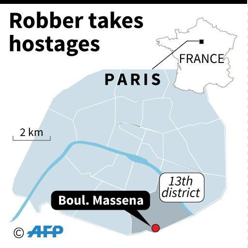 Map of Paris locating where an armed robber took several hostagesthe evening of December 2, 2016 (AFP Photo/Jonathan JACOBSEN)