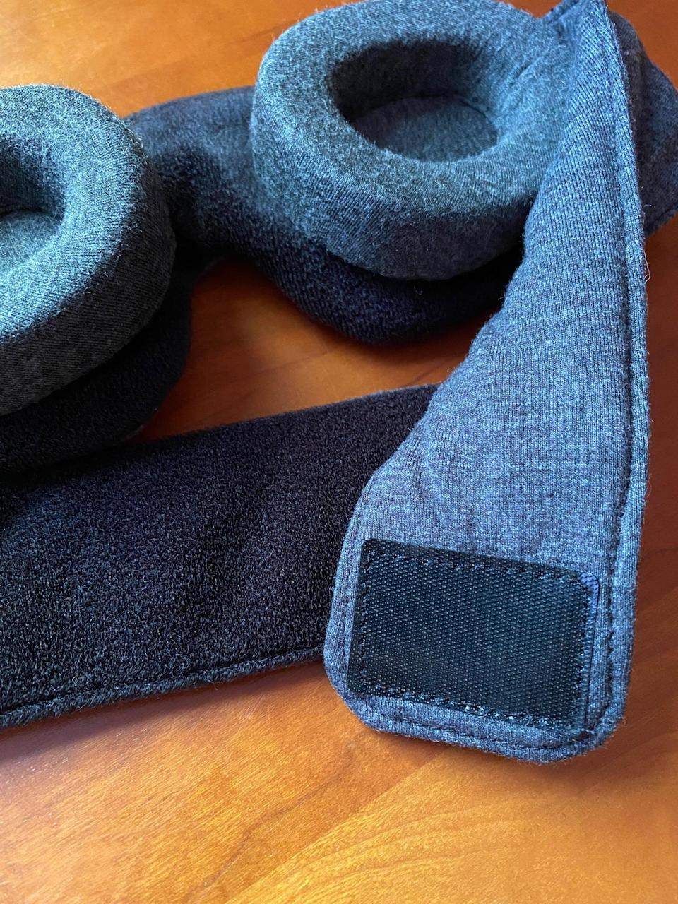 <p>The head strap is easily adjustable for the perfect snug fit with a thin hook-and-loop fastener. Once I secured the velcro around my head, it stayed put even when I turned over while sleeping.</p>