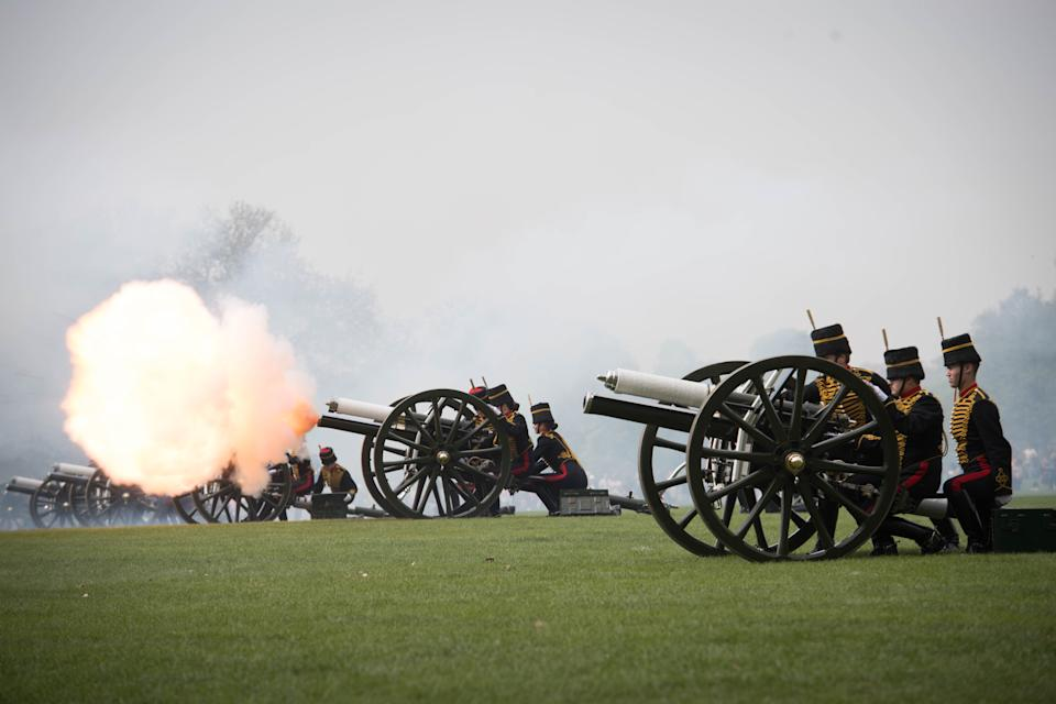 The King's Troop Royal Horse Artillery fire a 41 Gun Royal Salute to mark Queen Elizabeth II's 93rd birthday in Hyde Park, London. (Photo by Stefan Rousseau/PA Images via Getty Images)
