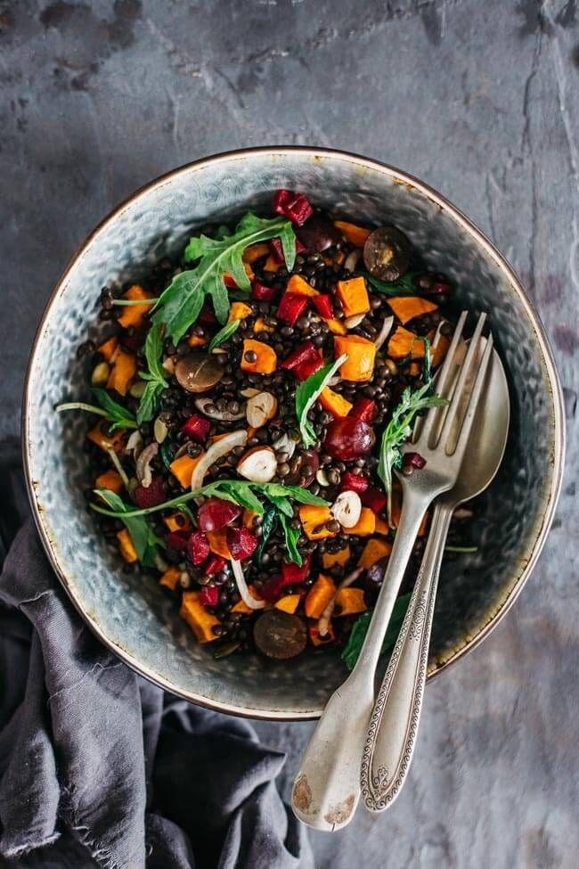"""<p>Lentils make salad extra hearty for those cold fall days.</p><p>Get the recipe from <a href=""""http://www.theawesomegreen.com/fall-salad-with-beluga-lentils-grapes-and-sweet-potato/"""" rel=""""nofollow noopener"""" target=""""_blank"""" data-ylk=""""slk:The Awesome Green"""" class=""""link rapid-noclick-resp"""">The Awesome Green</a>.</p>"""