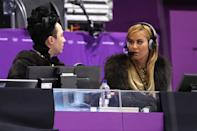 <p>Johnny Weir (L) and Tara Lipinski look on during the Ladies Single Skating Short Program on day twelve of the PyeongChang 2018 Winter Olympic Games at Gangneung Ice Arena on February 21, 2018 in Gangneung, South Korea. (Photo by Maddie Meyer/Getty Images) </p>
