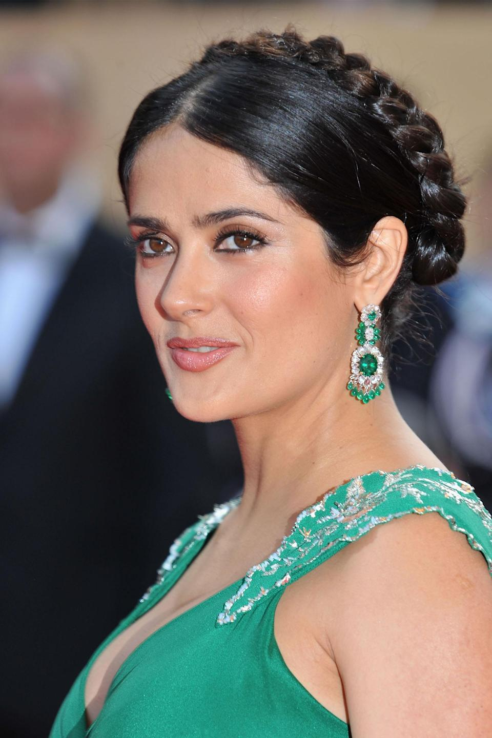 "<h3>Salma Hayek</h3> <br>Show off your neck — and a pair of diamond-and-emerald earrings that probably require their own security — with a sleek crown braid à la <a href=""https://www.refinery29.com/en-us/2020/06/9868837/salma-hayek-brown-hair-highlights-summer"" rel=""nofollow noopener"" target=""_blank"" data-ylk=""slk:Salma Hayek"" class=""link rapid-noclick-resp"">Salma Hayek</a>.<span class=""copyright"">Photo: Pascal Le Segretain/Getty Images. </span><br>"