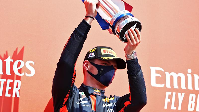 Max Verstappen, pictured here celebrating after winning the 70th Anniversary Grand Prix at Silverstone.