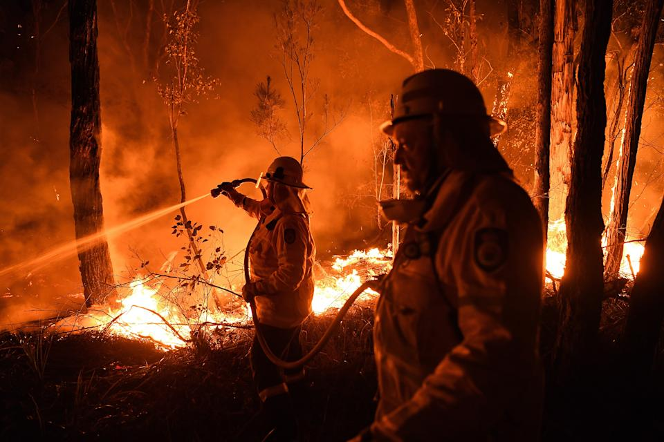 NSW RFS firefighters work through the night to prevent a flare-up from crossing the Kings Highway in between Nelligen and Batemans Bay.