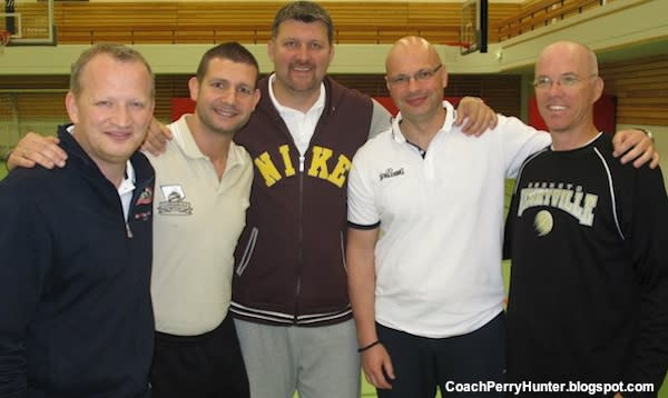 Henryville basketball coach Perry Hunter at a coaching clinic in Iceland