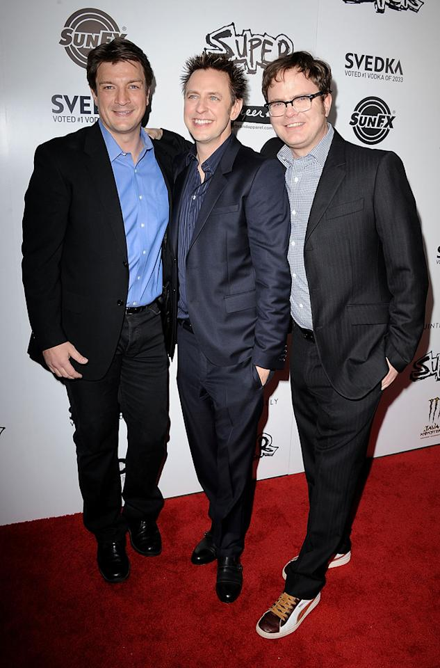 "<a href=""http://movies.yahoo.com/movie/contributor/1804371996"">Nathan Fillion</a>, <a href=""http://movies.yahoo.com/movie/contributor/1800013738"">James Gunn</a> and <a href=""http://movies.yahoo.com/movie/contributor/1804471845"">Rainn Wilson</a> at the Los Angeles premiere of <a href=""http://movies.yahoo.com/movie/1810167552/info"">Super</a> on March 21, 2011."