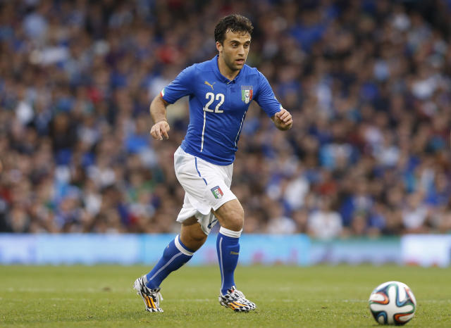 FILE - In this May 31, 2014, file photo, Italy's Giuseppe Rossi plays against the Republic of Ireland during an international friendly soccer match at Craven Cottage, London. Rossi has signed with Major League Soccer's Real Salt Lake, 21 months after his last competitive match. The 33-year-old from Clifton, N.J., had spent his entire professional career in Europe after moving when he was 12 to join Parma's youth academy, but he has been derailed by five major knee injuries. (AP Photo/Sang Tan, File)