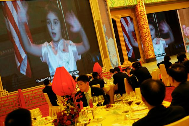 <p>Arabella Kushner, granddaughter of President Donald Trump, sings traditional Chinese songs in a video as part of Trump's toast as China's President Xi Jinping hosts a state dinner at the Great Hall of the People in Beijing, China, Nov. 9, 2017. (Photo: Jonathan Ernst/Reuters) </p>