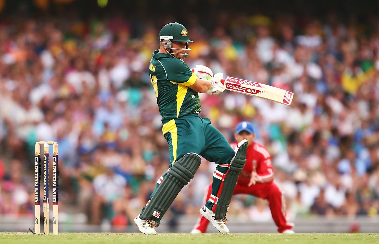SYDNEY, AUSTRALIA - JANUARY 19:  Aaron Finch of Australia bats during game three of the One Day International Series between Australia and England at Sydney Cricket Ground on January 19, 2014 in Sydney, Australia.  (Photo by Mark Nolan/Getty Images)