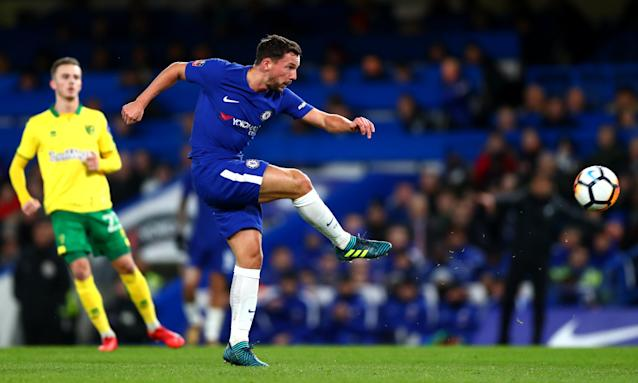 Danny Drinkwater has a shot against Norwich in the FA Cup. His opportunities for Chelsea in the league have been limited.
