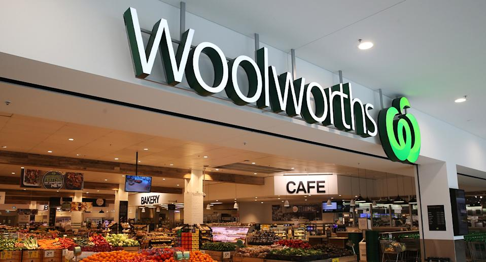 Image from the front of a Woolworths store.