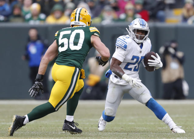 FILE - In a Sunday, Dec. 30, 2018 file photo, Detroit Lions' Theo Riddick runs during the first half of an NFL football game against the Green Bay Packers, in Green Bay, Wis. The Detroit Lions have released running back Theo Riddick after six seasons with the team. Coach Matt Patricia announced the move Saturday, July 27, 2019 while confirming the signing of defensive lineman Mike Daniels. (AP Photo/Matt Ludtke, File)
