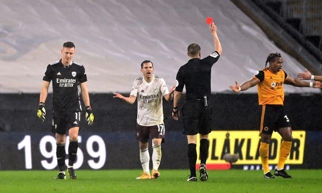 Arsenal goalkeeper Bernd Leno was also sent off at Molineux