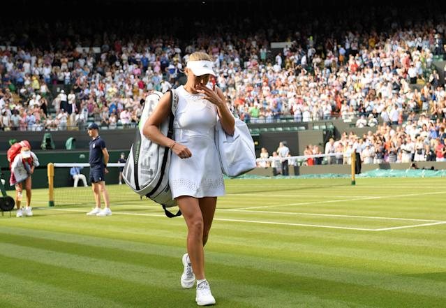 "<a class=""link rapid-noclick-resp"" href=""/olympics/rio-2016/a/1110228/"" data-ylk=""slk:Caroline Wozniacki"">Caroline Wozniacki</a> is the latest and highest seed to be eliminated from her 2018 Wimbledon campaign. (Reuters)"