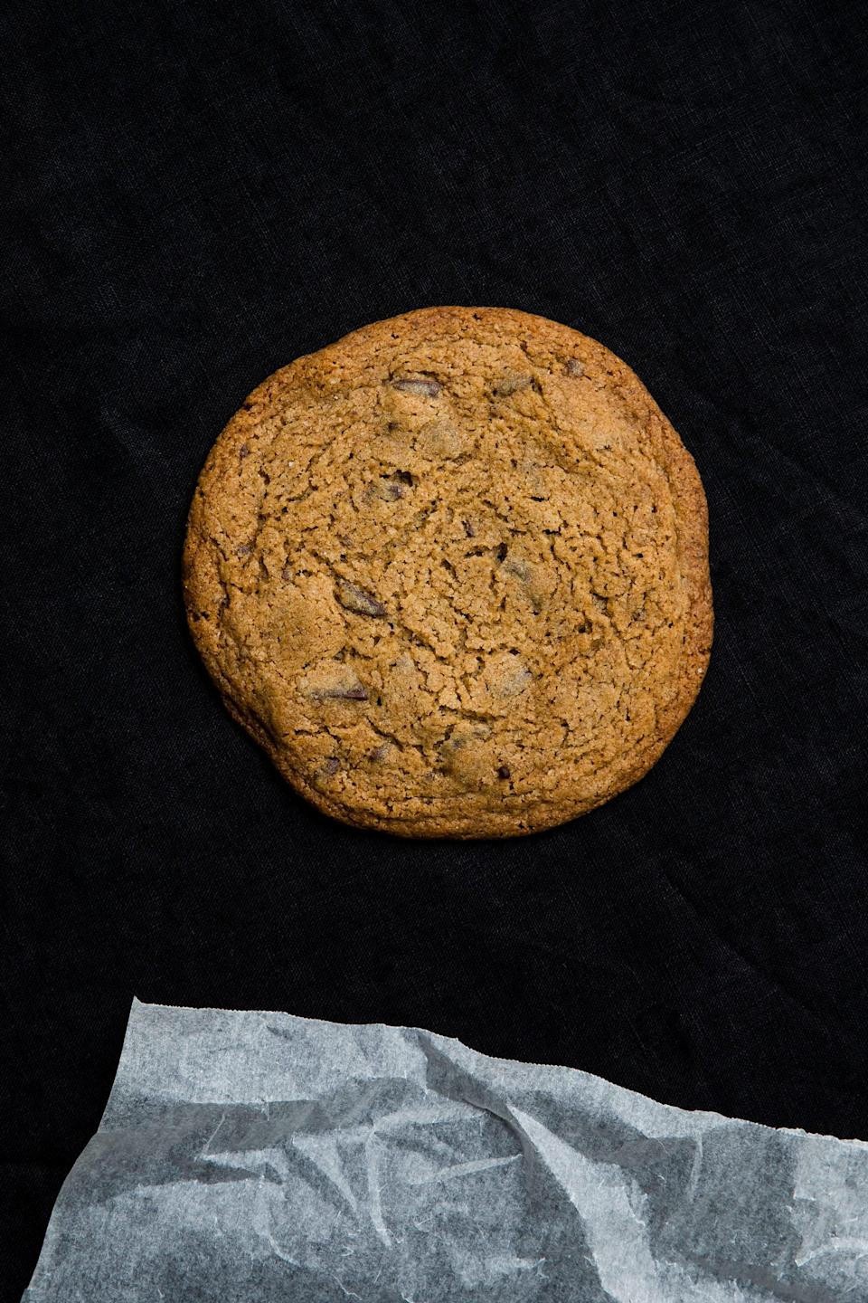 <strong>El's rum, rye and sea salt cookies</strong><br><em>Makes 12</em><br><br><strong>Ingredients</strong><br>210 g vegan butter<br>190 g brown sugar<br>1 tsp vanilla paste or extract<br>1½ tbsp rum<br>1 tsp No Egg<br>1 tbsp cold water<br>70 g rye flour<br>200 g plain flour<br>½ tsp ground cinnamon<br>½ tsp bicarbonate of soda<br>100 g dark chocolate, chopped into chunks<br>salt flakes, for sprinkling<br><br><strong>Instructions</strong><br>1. Preheat the oven to 160°C (320°F) and line a large baking tray with baking paper. Place the butter and sugar in the bowl of an electric mixer fitted with the paddle attachment and beat until pale. Beat in the vanilla.<br><br>2. In a separate bowl, combine the rum, No Egg and water, then add to the butter mixture.<br><br>3. Mix together the flours, cinnamon and bicarbonate of soda, then add to the butter mixture and mix until combined. Gently fold in the chocolate chunks.<br><br>4. Roll the dough into 12 even-sized balls. Place them on the prepared tray, allowing room for spreading, and gently press to flatten.<br><br>5. Sprinkle a pinch of salt flakes on each cookie and bake for 8–10 minutes. Cool completely on the tray before removing.