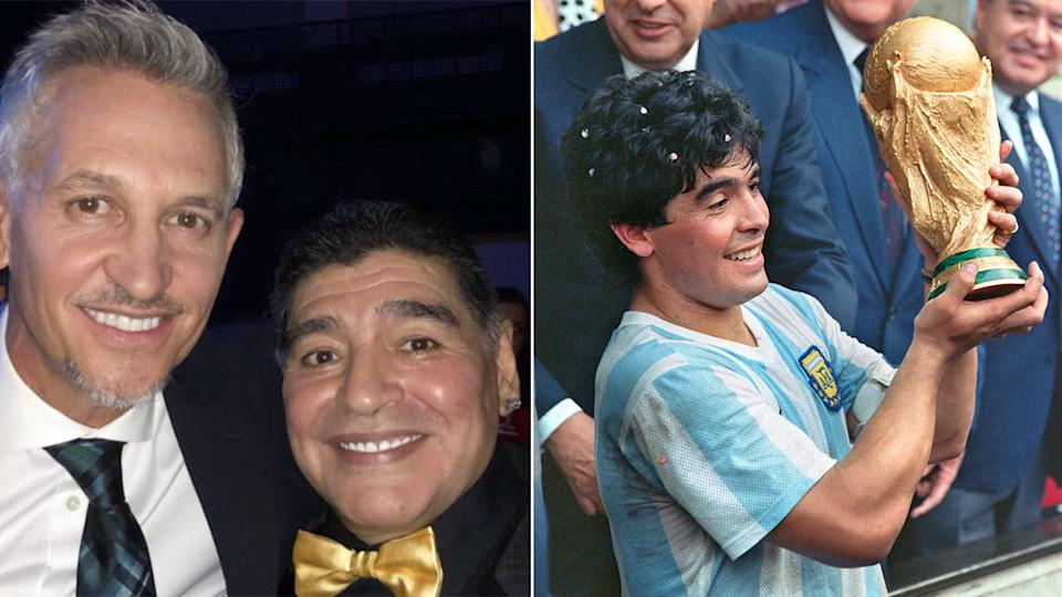 Pictured here, Gary Lineker alongside his friend and former rival Diego Maradona.