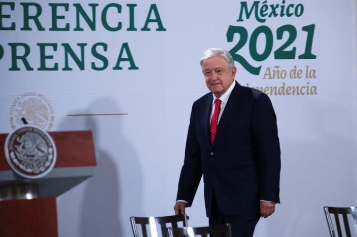 FILE PHOTO: Mexico's President Andres Manuel Lopez Obrador attends a news conference where he announced that he sent his well wishes to President-elect Joe Biden ahead of Biden's inauguration later in the day, at the National Palace in Mexico City