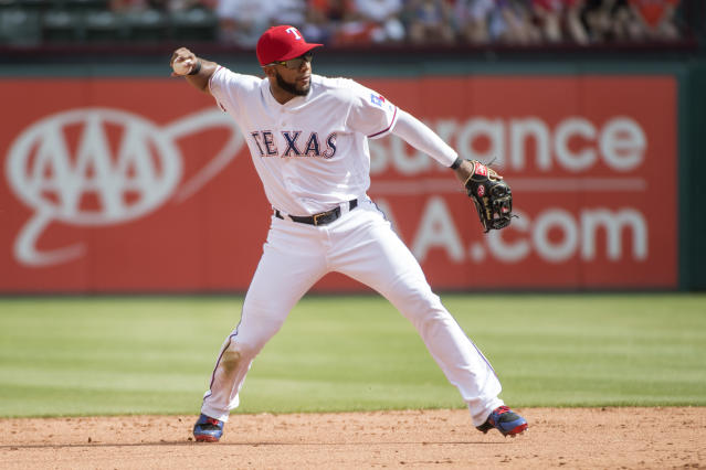 Rangers shortstop Elvis Andrus suffered a broken elbow during Wedensday's game against the Angels. (AP)
