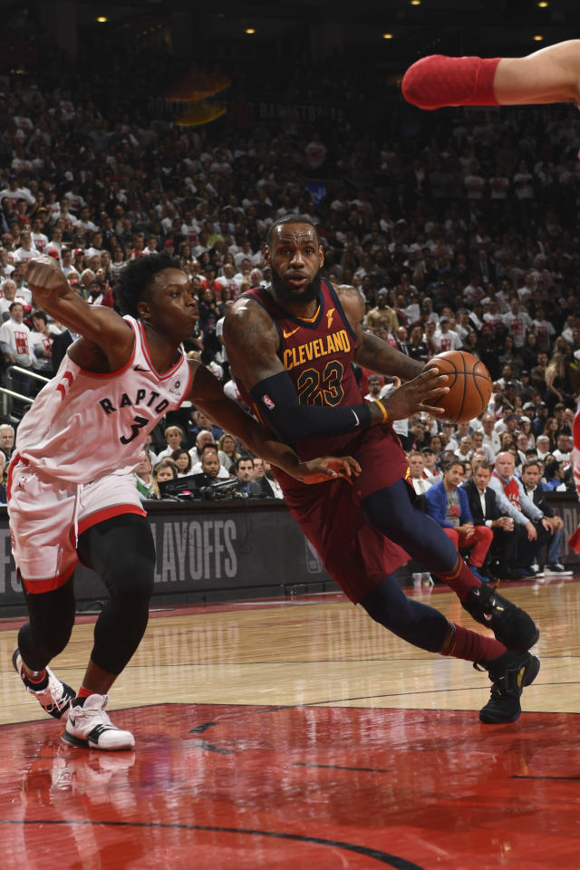 TORONTO, CANADA - MAY 1: LeBron James #23 of the Cleveland Cavaliers handles the ball against the Toronto Raptors in Game One of Round Two of the 2018 NBA Playoffs on May 1, 2018 at the Air Canada Centre in Toronto, Ontario, Canada. (Photo by Ron Turenne/NBAE via Getty Images)