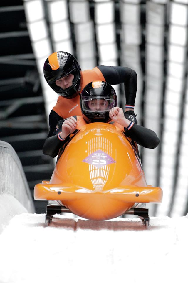 SOCHI, RUSSIA - FEBRUARY 17: pilot Edwin van Calker and Bror van der Zude of the Netherlands team 1 in action during the Men's Two-Man Bobsleigh on Day 10 of the Sochi 2014 Winter Olympics at Sliding Center Sanki on February 17, 2014 in Sochi, Russia. (Photo by Adam Pretty/Getty Images)