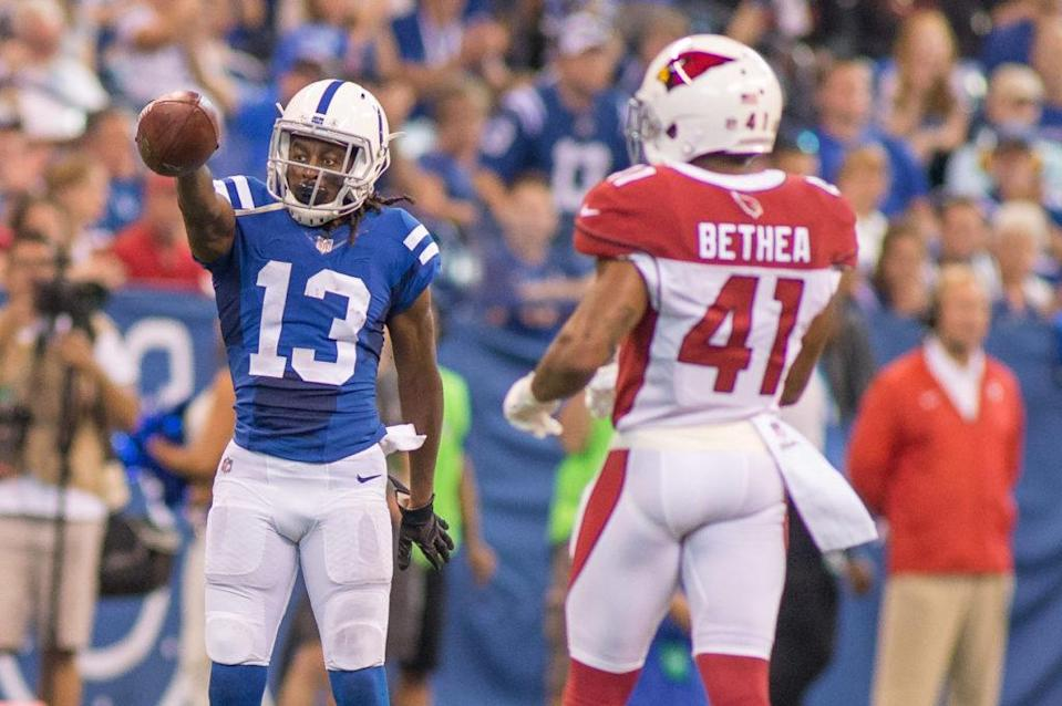 Sep 17, 2017; Indianapolis, IN, USA; Indianapolis Colts wide receiver T.Y. Hilton (13) points for the first down in the second half of the game against the Arizona Cardinals at Lucas Oil Stadium. Mandatory Credit: Trevor Ruszkowski-USA TODAY Sports