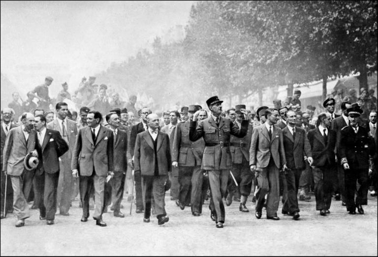 General Charles de Gaulle celebrated the August 25, 1944, liberation of Paris from Nazi Germany on the Champs-Elysees